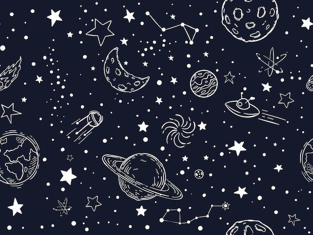 Seamless night sky stars pattern Premium Vector