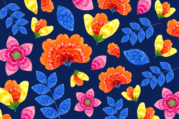 Seamless orange and blue floral pattern Free Vector