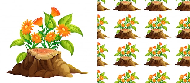 Seamless orange flowers and stump Free Vector