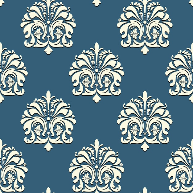 Seamless pattern orientale su sfondo blu sullo sfondo del vettore Vettore gratuito