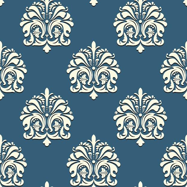 青い背景ベクトルの背景にシームレスなオリエンタルパターン 無料ベクター