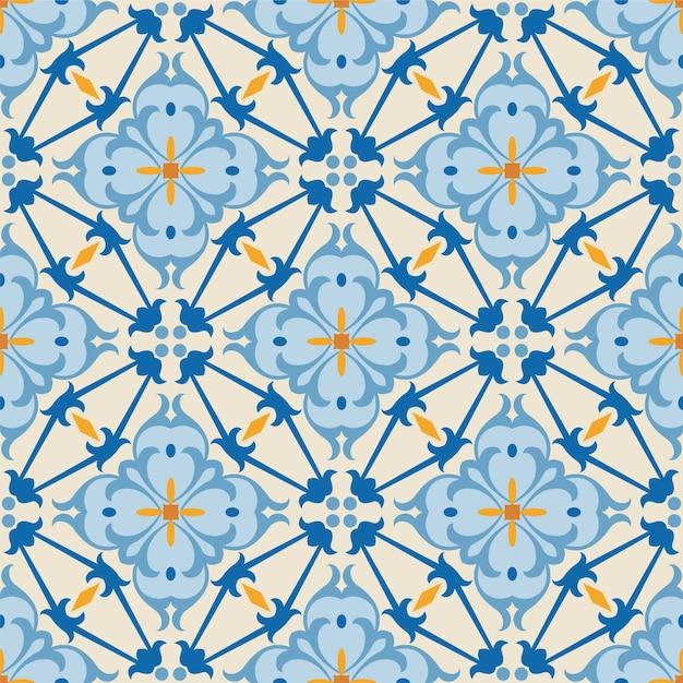크리 에이 티브 아트에 대 한 완벽 한 장식 꽃 패턴 배경 타일. 프리미엄 벡터