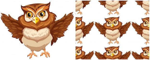 Бесшовные сова на белом Бесплатные векторы