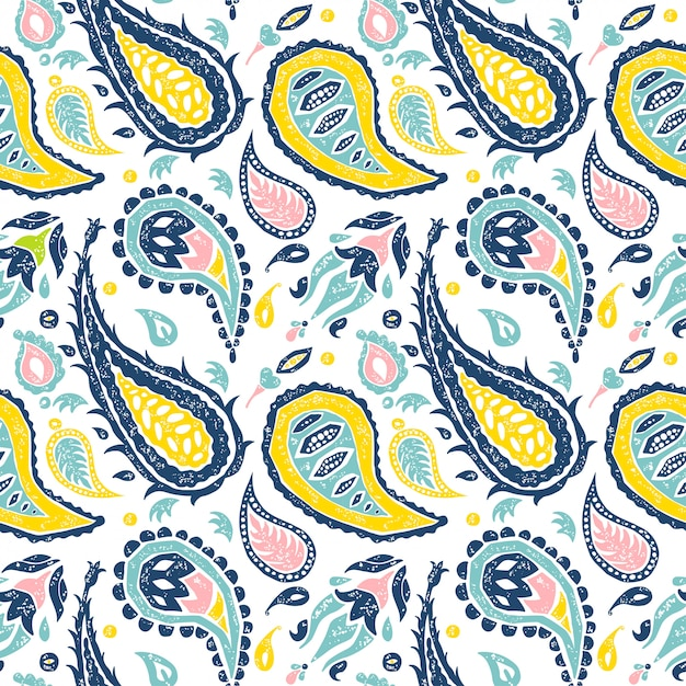 Premium Vector | Seamless paisley pattern in a white ...