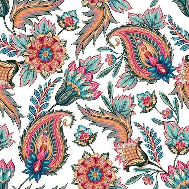 Seamless Paisley Pattern Vector Premium Download
