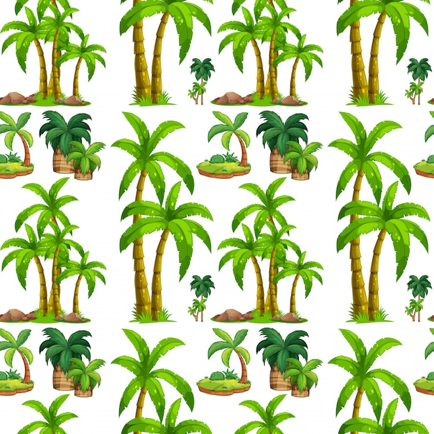 Palm Tree Island: Seamless Palm Trees And Island Vector