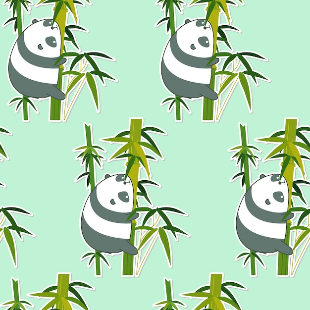 Seamless panda on bamboo pattern. Premium Vector