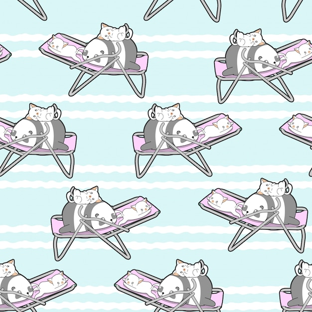 Seamless panda and cats on the cradle pattern. Premium Vector