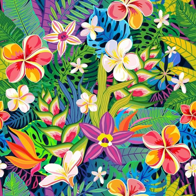 シームレスパターン抽象的な熱帯植物、花、葉。デザイン要素。野生動物のカラフルな花のジャングル。熱帯雨林のアートの背景。図 Premiumベクター