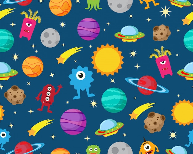 Seamless pattern of alien with ufo and planet in space Premium Vector