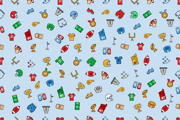 Seamless pattern of american football color and line icon Premium Vector