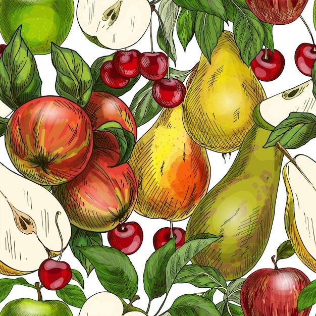 Seamless pattern, apples, pears and cherries Premium Vector
