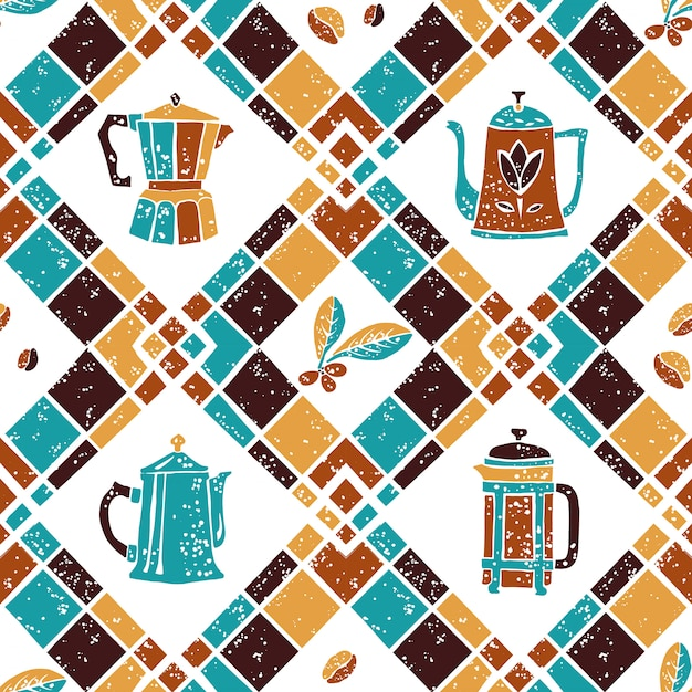 Seamless pattern argyle and coffee jugs Premium Vector