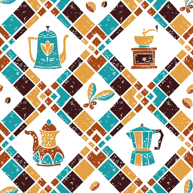 Seamless pattern argyle and coffeepots Premium Vector