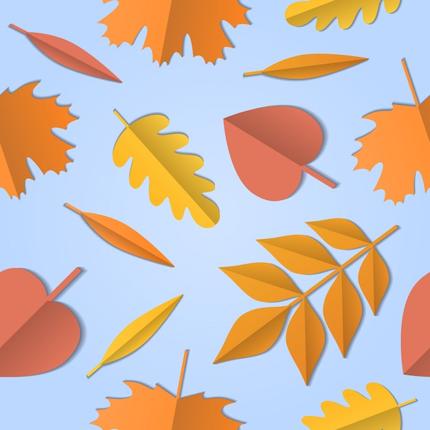Seamless pattern of autumn leaves of different tree, paper art background Premium Vector