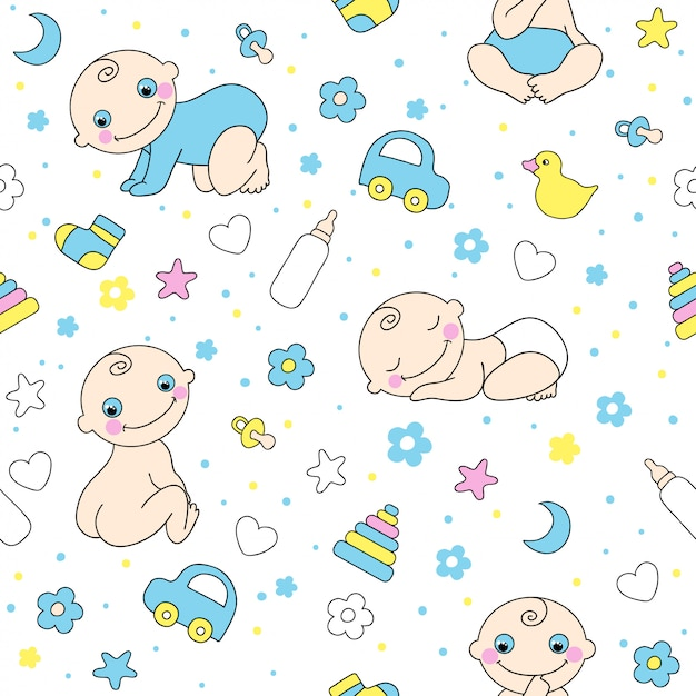 Seamless pattern for baby boys. Premium Vector