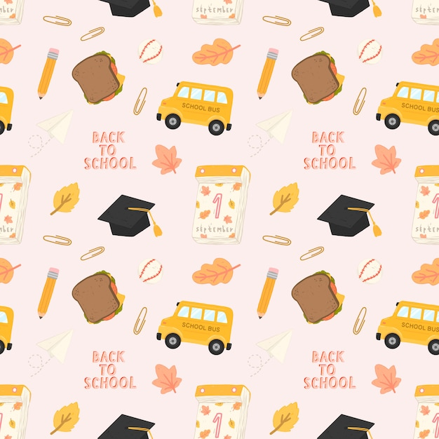 Seamless pattern back to school with training accessories of school. Premium Vector