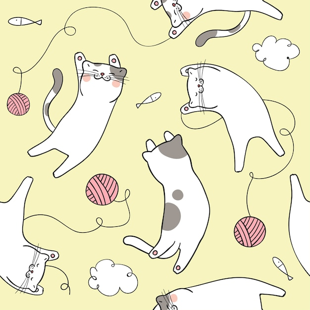 Seamless pattern background cute cat on yellow pastel Premium Vector