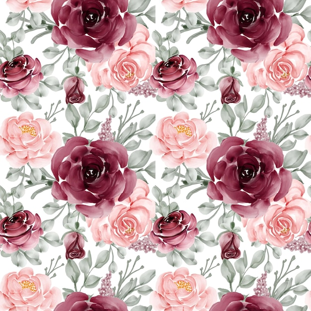 Seamless pattern background of flower rose pink and burgundy Free Vector
