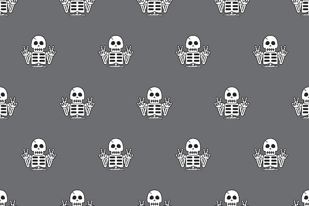 Seamless pattern background of funny skeleton Vector
