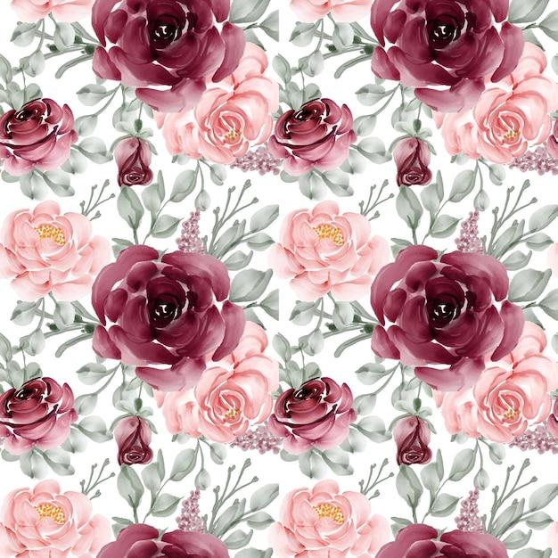꽃의 완벽 한 패턴 배경 장미 핑크와 부르고뉴 무료 벡터