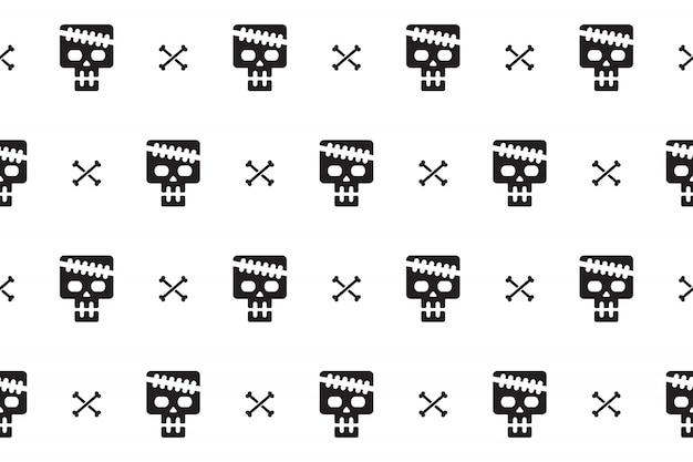 Seamless pattern background of skull and bone Premium Vector