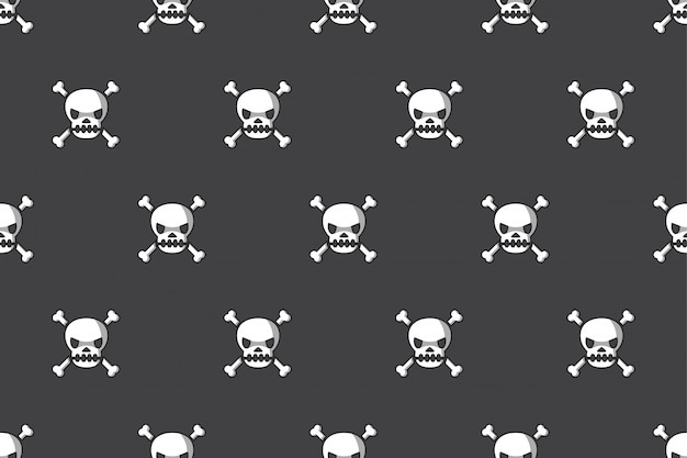 Seamless pattern background of skull and bone Premium Vector