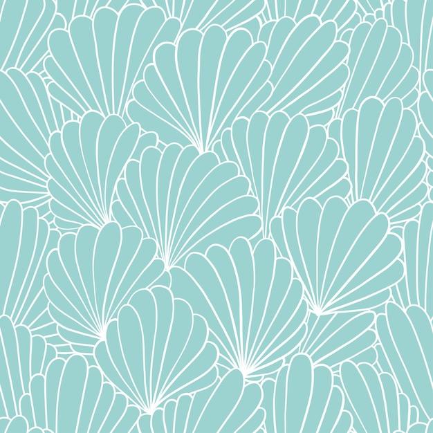 抽象的なシェル飾りとのシームレスなパターン背景 Premiumベクター