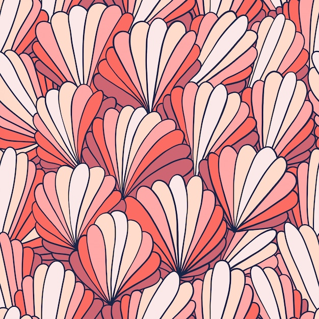 Seamless pattern background with abstract shell ornaments Premium Vector