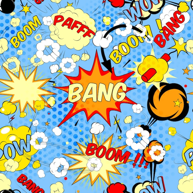 Seamless pattern background with comic book speech bubbles vector illustration Free Vector