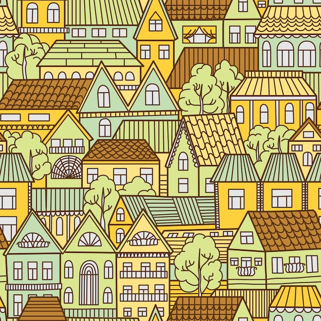 Seamless pattern background with houses and trees Premium Vector