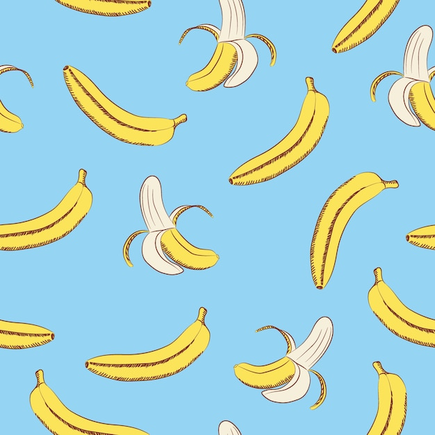 Seamless pattern of bananas on a blue background ...