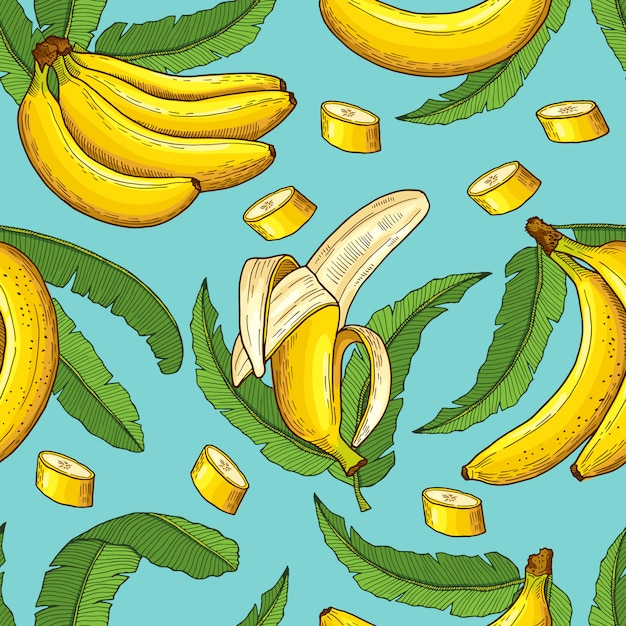 Seamless pattern of bananas. vector illustrations of tropical food Premium Vector