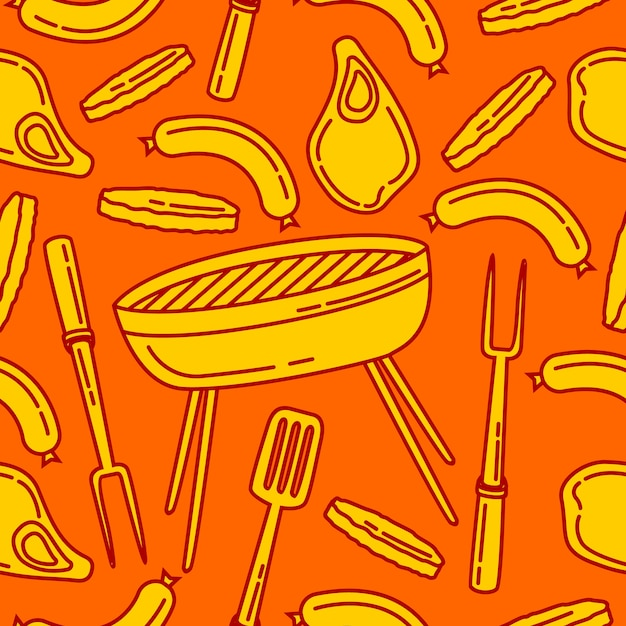 Seamless pattern barbeque background Premium Vector