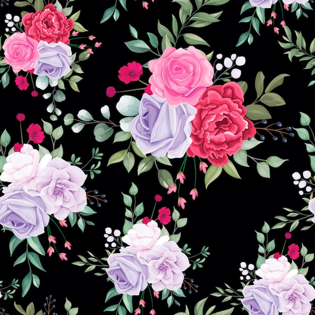 Seamless pattern beautiful blooming floral Free Vector