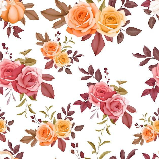 Бесшовный фон красивый цветок и листья дизайн Premium векторы
