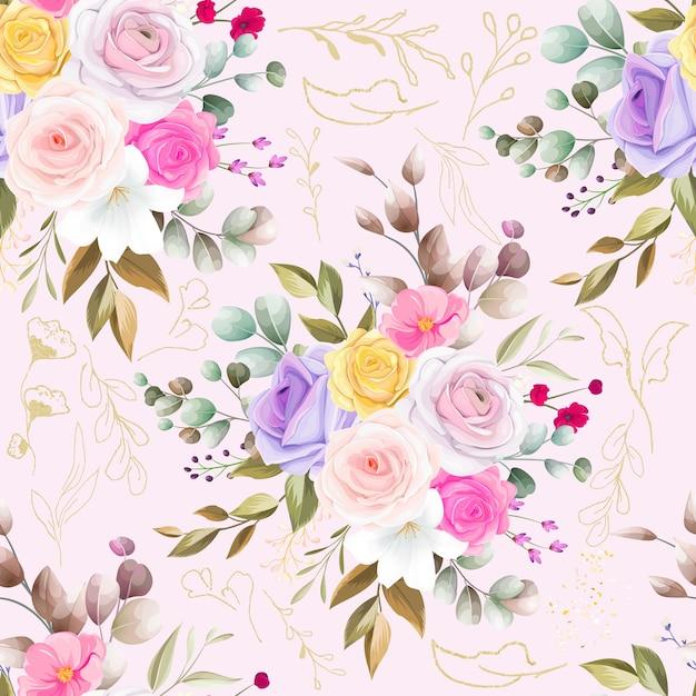 シームレスなパターンの美しい花と葉のデザイン 無料ベクター