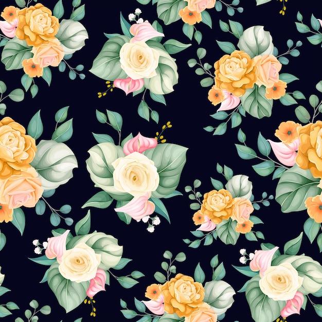 シームレスなパターンの美しい花と葉 無料ベクター