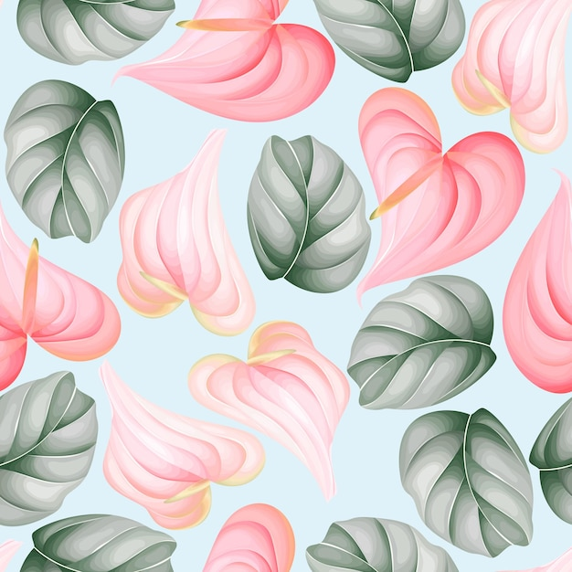 Seamless pattern beautiful flower and leaves design Free Vector