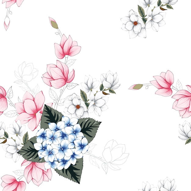Seamless pattern beautiful flowers background. Premium Vector