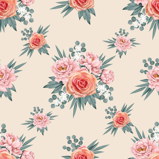 Seamless pattern beautiful pink paeonia and rose Premium Vector