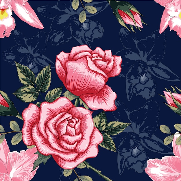 Seamless pattern beautiful pink rose and orchid flowers on dark blue color background Premium Vector