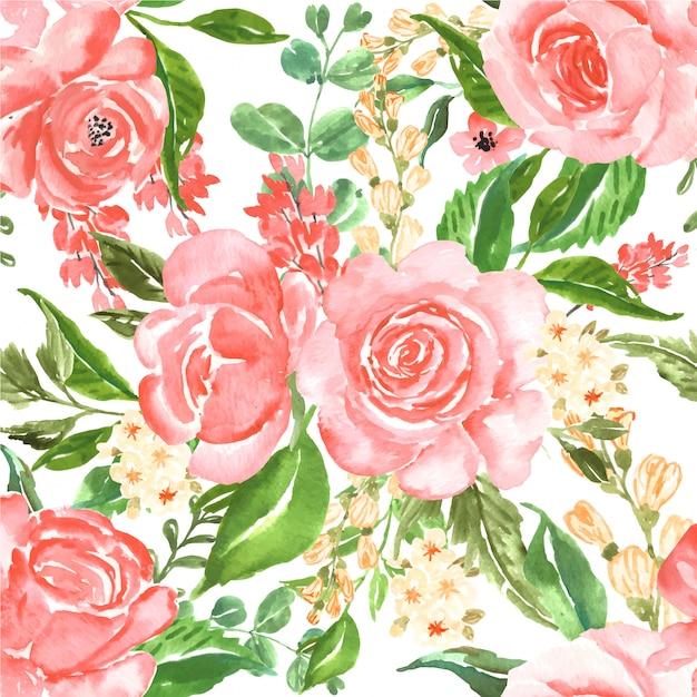 Seamless pattern beautiful rose pink watercolor flower Premium Vector