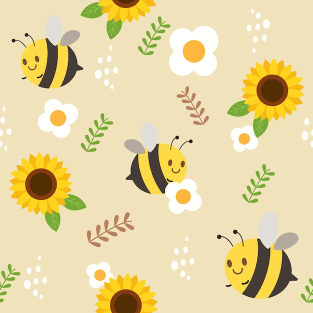 The seamless pattern of bee and sunflower and white flower and the leaf. Premium Vector