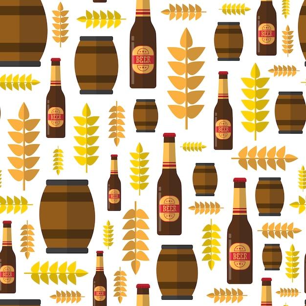 Seamless pattern beer barrels and bottles for oktoberfest festival theme Premium Vector