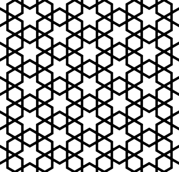 Seamless pattern in black and white in thick lines. Premium Vector