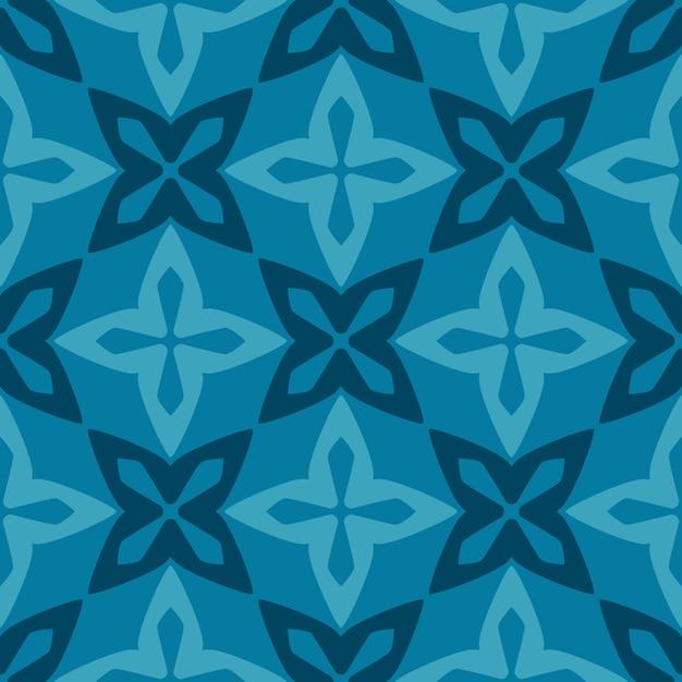 Seamless pattern blue moroccan ornamental ceramic tile Premium Vector