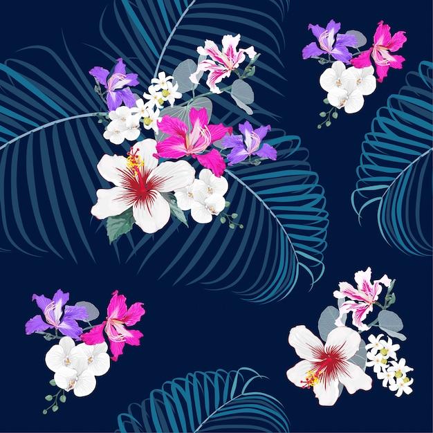 Seamless pattern botanical on dark blue background. Premium Vector