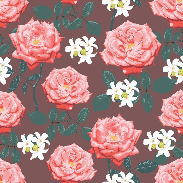 Seamless pattern botanical pink rose and white flowers, watercolor style Premium Vector
