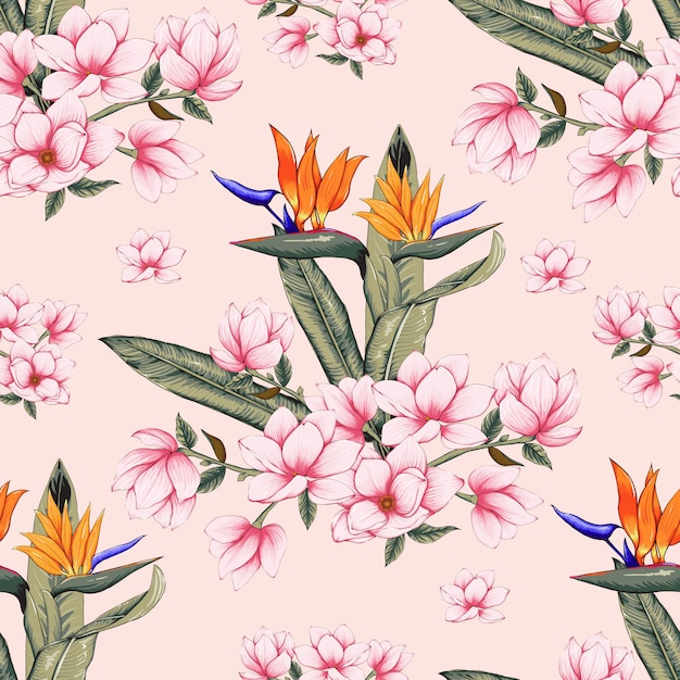 Seamless pattern botanical with pink magnolia and bird of paradise flowers on pastel color Premium Vector